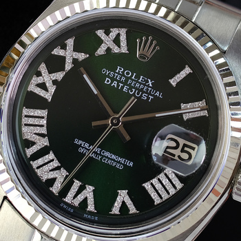 Rolex Mens Datejust 1601 Stainless Steel Green Roman Diamond Dial Fluted Bezel 36mm Watch-Preowned