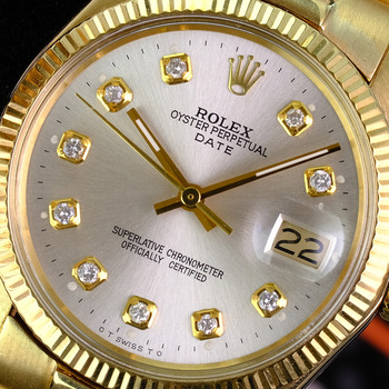 Rolex Vintage Date 1503 34mm Yellow Gold Jubilee Silver Diamond Dial Watch-Preowned