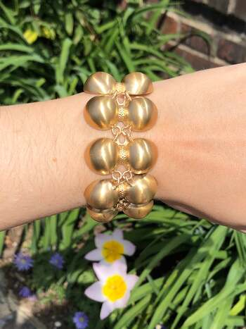 """14K Yellow Gold Fancy Link Bracelet 7.5"""" 80.2 Grams"""