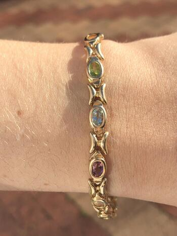 "14K Yellow Gold Gemstone Bracelet 7.5"" 14.5 Grams"