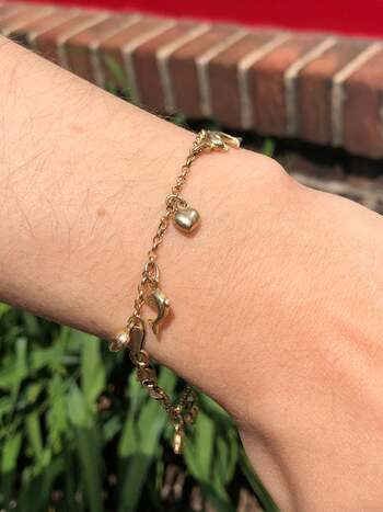 """14K Heart and Dolphin Link Braclet 7.75"""" 6.5 Grams"""