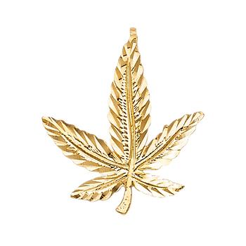 14K Yellow Gold Marijuana Leaf Pendant - 20 mm X 19 mm