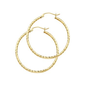 14K Yellow Gold 1.5mm Hoop Earrings Diameter - 25 MM