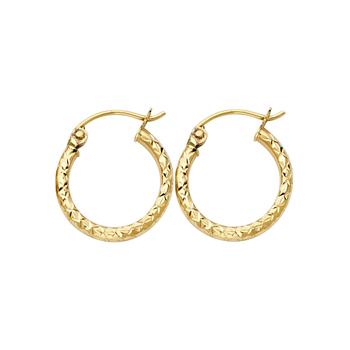 14K Yellow Gold 1.5mm Hoop Earrings Diameter - 15 MM