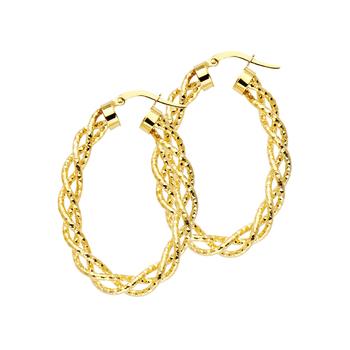 14K Yellow Gold 3mm Twisted Hoop Earrings 40mm X 30mm