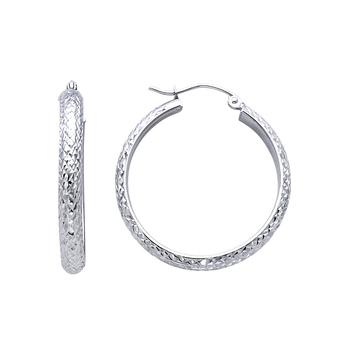 14K White Gold 3.5mm Diamond Cut Hoop Earrings Diameter-30mm