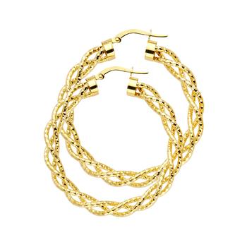 14K Yellow Gold 3mm Twisted Hoop Earrings Diameter - 40 MM
