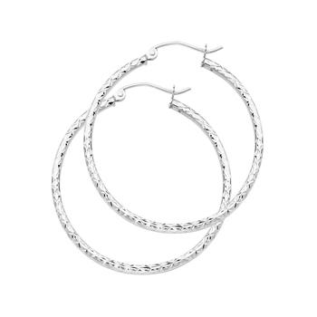 14K White Gold 1.5mm Hoop Earrings Diameter - 33mm