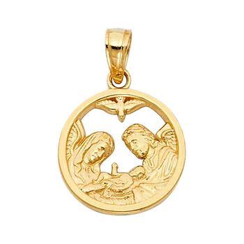 14K Yellow Gold Baptism Religious Pendant  - 15 mm X 15 mm