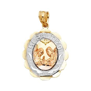 14K Tri Color Yellow Rose White Gold Baptism Religious Pendant - 20 mm x 15 mm