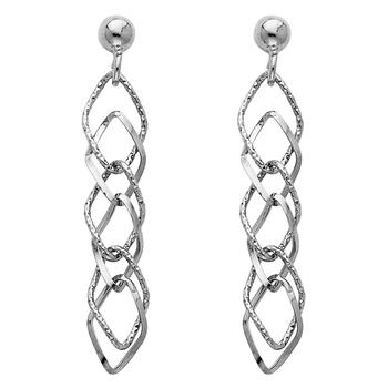 14K White Gold Hanging Earrings Height - 40mm