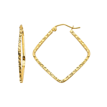 14K Yellow Gold 1.5mm Square Tube Diamond Cut Square Hoop Earrings Diameter - 25 MM