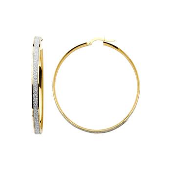 14K Two Tone Yellow & White Gold 4mm Sparkling Center Hoop Earrings Diameter - 30 MM
