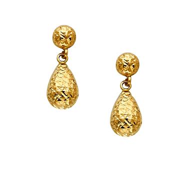 14K Yellow Gold Diamond Cut Hollow Teardrop Earrings W/Post 20mm x 08mm