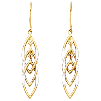 14K Two Tone Yellow & White Gold MUL Hanging Hollow Design Tube Earrings 40mm x 10mm