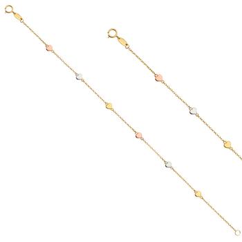 "14K Tri Color Yellow Rose White Gold Chain Bracelet w/Heart - 7.25"""