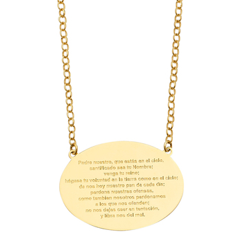 """14K Yellow Gold Lord PLAYER Necklace in Spanish - 17+1"""""""