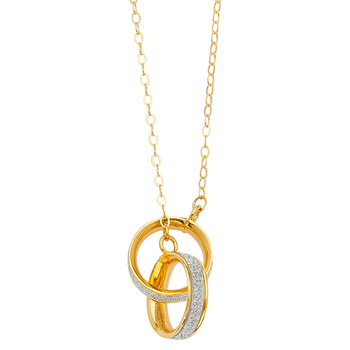 14K Yellow Gold Glitter Joint Two Ring Necklace –17+1