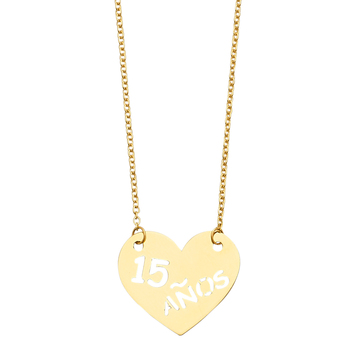 14K Yellow Gold 15Years Heart Necklace  –18''