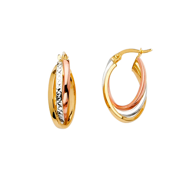 14K Tri Color Yellow White Rose Gold 3Line Twisted Hoop Earrings 22MM X 12MM