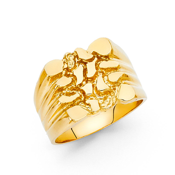 14K Yellow Gold Nugget Ring, Size - 10