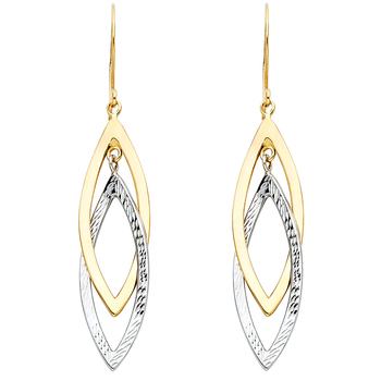 14K Two Tone Yellow & White Gold Hollow Design Tube Earrings- 45 mm X 12 mm