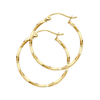 14K Yellow Gold Curled Hoop Earrings Diameter - 24 mm