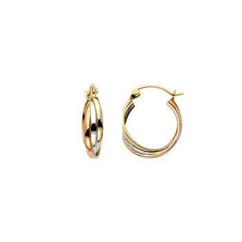 14K Tri Color Yellow White Rose Gold 3 Line Hoop Earrings Diameter - 14MM