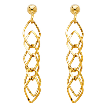 14K Yellow Gold Hanging Earring Height - 40 mm