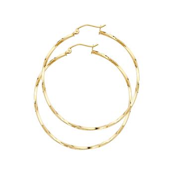 14K Yellow Gold Curled Hoop Earrings Diameter - 34 mm