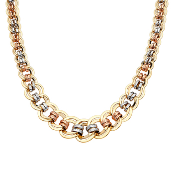 """14K Tri Color Yellow White Rose Gold  Fancy Hollow Necklace - 18"""""""