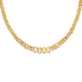 """14K Tri Color White Yellow Rose Gold Graduated Hollow Necklace - 18"""""""