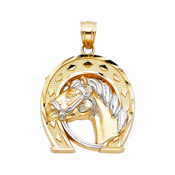 14K Two Tone White Yellow Gold Lucky Horsehoe Pendant - 23 mm X 22 mm
