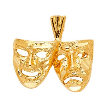 14K Yellow Gold Mask Pendant - 12 mm X 18 mm