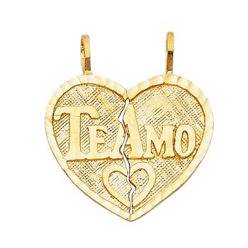 14K Yellow Gold Teamo Heart 2 Piece Pendant - 20 mm X 22 mm
