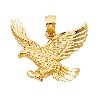 14K Yellow Gold Eagle Pendant - 17 mm X 21 mm