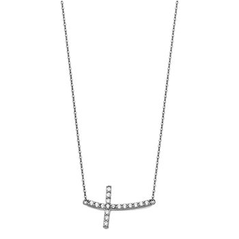 14K White Gold Bended Cubic zirconia Sideways Cross Necklace - 17+1