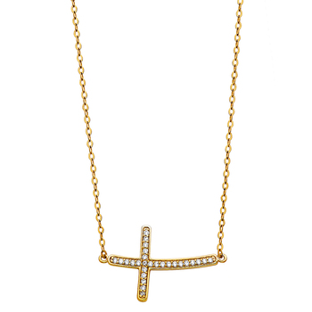 """14K Yellow Gold Cubic zirconia Side Way Cross Necklace - 17+1"""""""