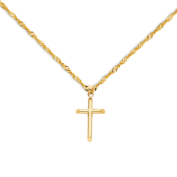 """14K Yellow Gold Classic Cross Pendant with 1.2mm Singapore Chain - 18"""""""
