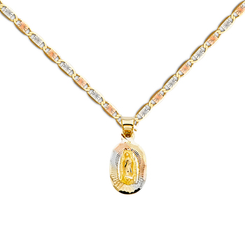 """14K Tri Color Gold Diamond Cut Our Lady of Guadalupe Stamp Charm Pendant with 1.5mm Valentino Chain Necklace - 20"""""""