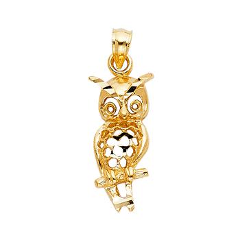 14K Yellow Gold Owl Pendant - 20 mm X 09 mm