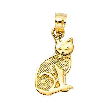 14K Yellow Gold Cat Pendant - 15 mm X 10 mm