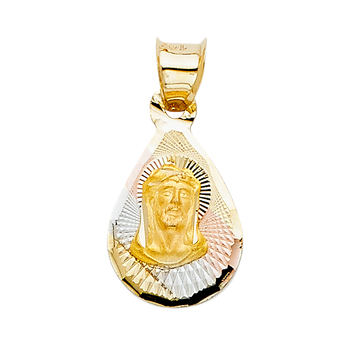 14K Tri Color Yellow Rose White Gold Religious Jesus Stamp Pendant  - 14 mm x 10 mm