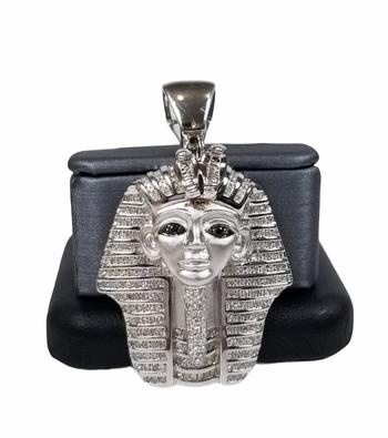 Diamond 1.20ct Egyptian Pharaoh King Tut Mens Pendant 925 Sterling Silver Charm