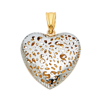 14K Two Tone Yellow and White Gold Flower Heart Pendant - 20 mm X 21 mm
