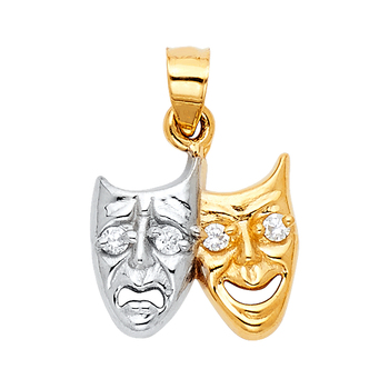 14K Two Tone Yellow and White Gold Two Face Pendant - 15 mm X 15 mm