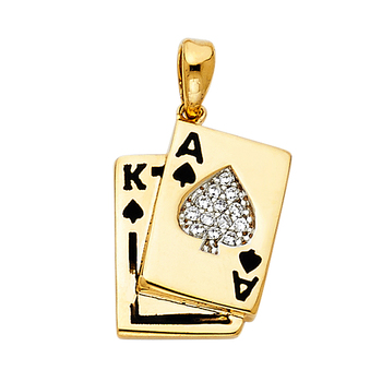 14K Yellow Gold Cubic zirconia Spade A & K Card Pendant - 15 mm X 13 mm