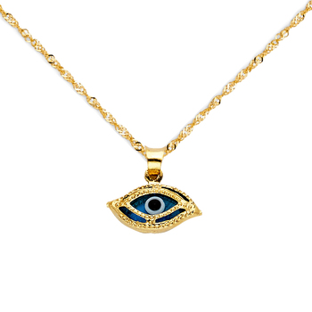 """14K Yellow Gold Evil Eye Charm Pendant with 0.9mm Singapore Chain - 20"""""""