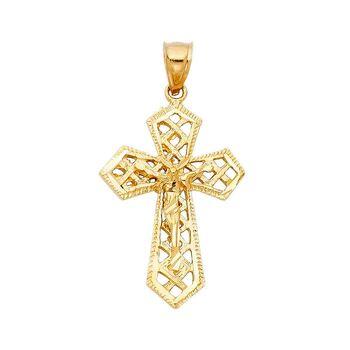 14K Yellow Gold Religious Crucifix Pendant- 32 mm X 23 mm