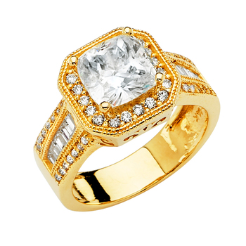 14K Yellow Gold Cubic Zirconia Engagement Ring, Size - 7